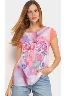 Camiseta T-Shirt Carmim Folhagem Feminina - Feminino-Vermelho