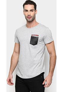 Camiseta Rg 518 Alongada Detalhe Bolso Masculina - Masculino