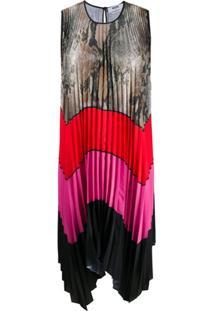 Msgm Vestido Reta Com Pregas - Rosa