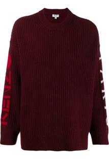 Kenzo Suéter De Tricô Com Logo - Vermelho