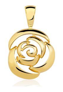 Pingente Toque De Joia Rosa Vazada - Feminino-Dourado