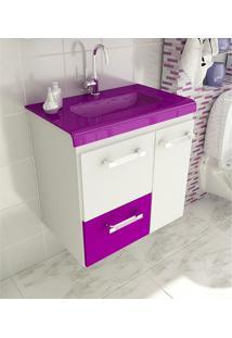 Gabinete Para Banheiro 60 Cm Com 2 Peças Vetro 13 Branco E Violeta Tomdo