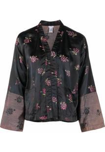 Comme Des Garçons Comme Des Garçons Metallic Thread Floral Jacket - Preto