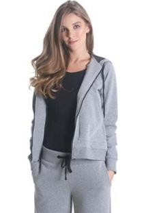 Jaqueta Líquido Com Capuz Soft Feminina - Feminino-Cinza