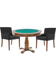 Mesa De Jogos Carteado Victoria Redonda Tampo Reversível Amêndoa Com 2 Cadeiras Vicenza Preto Fosco - Gran Belo