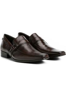 Sapato Social Couro Shoestock Fivela Masculino - Masculino-Café