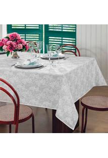 Toalha De Mesa Retangular Gardênia Elegance Branca (140X220)