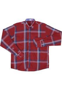 Camisa Xadrez Manga Longa Rode Masculina - Masculino-Vermelho