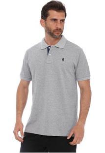 Camisa Polo New York Polo Club Slim - Masculino-Cinza