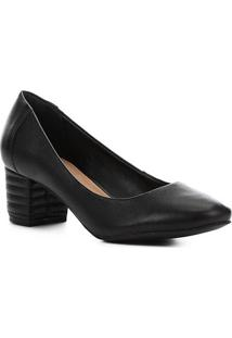 Scarpin Couro Shoestock Salto Bloco Matelassê - Feminino-Preto