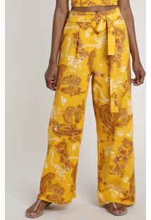 Calça Feminina Pantalona Estampada Paisley Mostarda