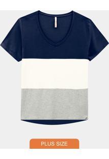 Blusa Plus Size Crepe Decote V Azul