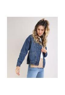 Jaqueta Jeans Biker Com Recorte Azul Escuro