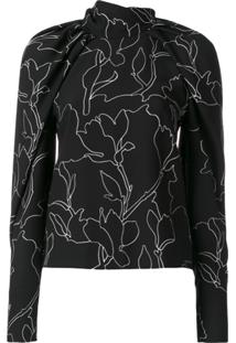Carven Blusa Com Estampa Floral - Preto