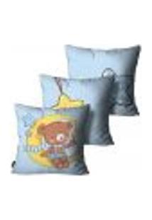 Kit Com 3 Capas Para Almofada Infantil Urso Azul 55X55Cm