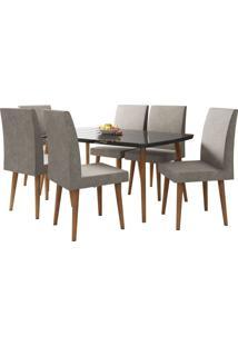Mesa De Jantar Com 6 Cadeiras Jade Pé Palito Black Com Pena Caramelo Rv Móveis