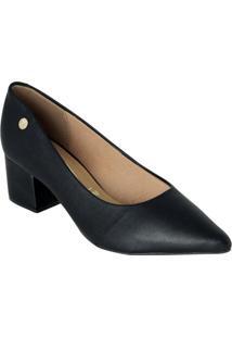 Sapato Vizzano Preto Com Salto Quadrado