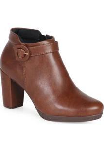 Ankle Boots Feminina Mini Fivela Café