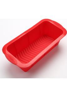 Forma De Silicone Para Bolo, Pão, Bolo Ingles Retangular Vermelha - Kanui