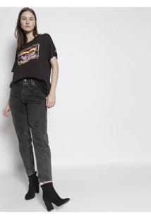 "Camiseta ""Levi Strauss & Co."" - Preta & Rosa Neonlevis"