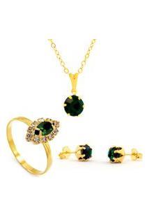 Kit Horus Import Gargantilhapingente Verde Esmeralda - Brincos - Anel - Banhado Em Ouro 18K - Kit10534.