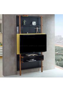 Estante Home Theater Para Tv Até 42 Polegadas Karl 180 X 99,8 X 25,5 Preto/Amarelo - Urbe Móveis