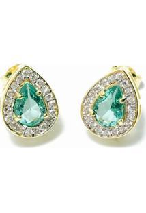 Brinco Banho De Ouro Com Cristal Paraiba - Feminino-Verde