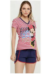 Pijama Feminino Estampa Minnie Manga Curta Disney
