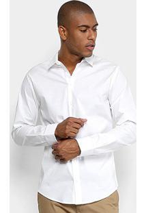 Camisa Forum Básica Manga Longa Square Masculina - Masculino-Branco