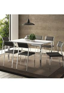 Mesa 1526 Branca Cromada Com 6 Cadeiras 1709 Preta Carraro