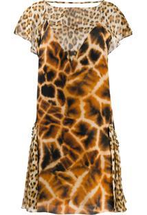 Roberto Cavalli Vestido Animal Print - Neutro
