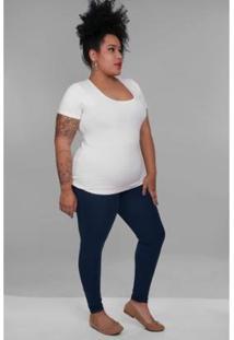 Calça Kaue Plus Size Fuso Cotton Feminina - Feminino-Azul Petróleo