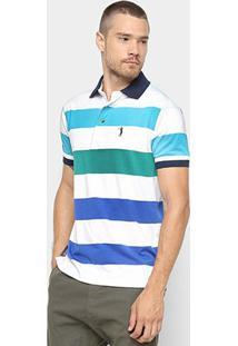 Camisa Polo Aleatory Estampa Listrada Masculina - Masculino-Verde+Branco