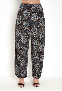 Calça Pantalona Arabescos Preta Com Fenda