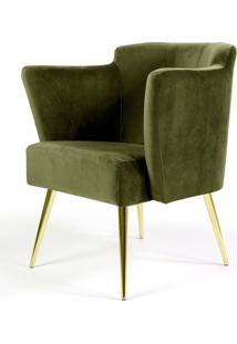 Poltrona Decorativa Fixa Pés Palito D'Ouro Metalizado Sabrina Veludo Verde A-295 - Lyam Decor