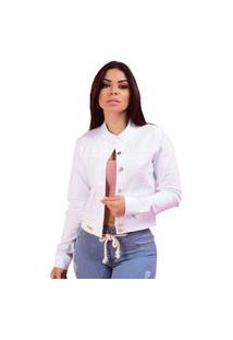 Jaqueta Jeans Feminina Branca Branco