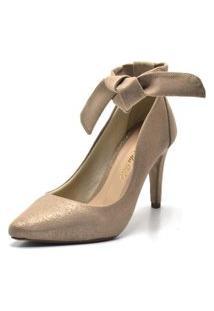 Sapato Scarpin Com Laço Salto Alto Fino Em Nobucado Areia Cintilante