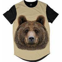 d187480ee658d Camiseta Bsc Longline Cara De Urso Sublimada Masculina - Masculino-Bege