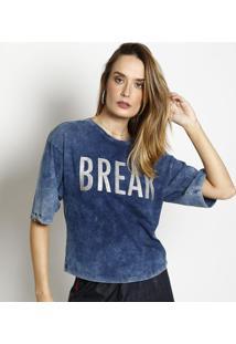 Camiseta Estonada Com Argolas- Azul Escuro- Zincozinco