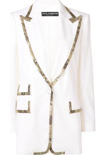 Dolce & Gabbana Blazer Longo Com Aplicação - Branco