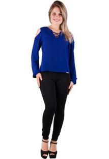 Blusa Banna Hanna Chiffon - Feminino-Azul