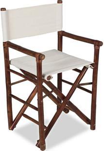Cadeira Diretor Bambú Com Tecido Marrom Acasa Móveis