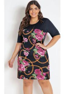 Vestido Plus Size Floral Preto Mangas 3/4