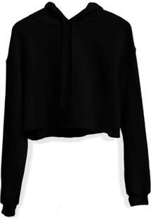 Moletom Feminino Blusa Cropped Liso Com Capuz Preto