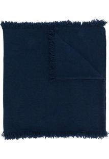 Pringle Of Scotland Echarpe De Cashmere Com Franjas - Azul
