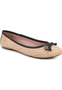Sapatilha Shoestock Ráfia Laço Feminina - Feminino-Preto