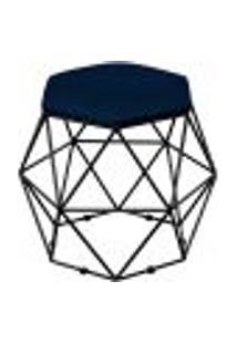 Puff Decorativo Aramado Preto Six L02 Suede Azul Marinho - Lyam Decor