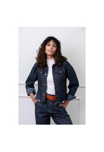 Jaqueta Sisal Jeans Sem Cós Manga Bufante Preta