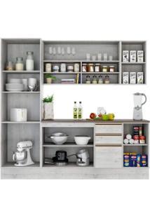 Cozinha Compacta 7 Portas 3 Gavetas Itália A2199 Casamia Snow/Snow