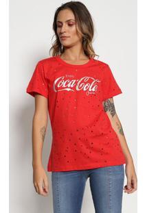"""Camiseta """"Enjoy Coca-Cola®"""" - Vermelha & Prateada - Coca-Cola"""